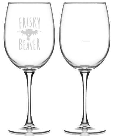 Frisky Beaver wine glasses